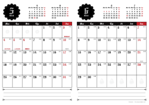 2015年5・6月|ゴシックカレンダー(縦2ヶ月/A4)