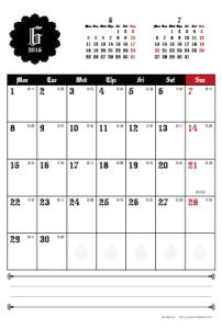 2015年6月|ゴシックカレンダー(縦1ヶ月/ポストカード)