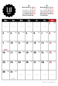 2017年10月|ゴシックカレンダー(縦1ヶ月/ポストカード)【無料ダウンロード】