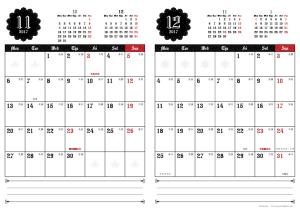 2017年11・12月|ゴシックカレンダー(縦2ヶ月/A4)