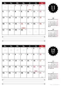 2017年11・12月|ゴシックカレンダー(横2ヶ月/A4)