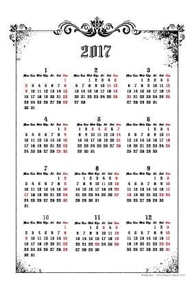 2017年ゴシックカレンダー(年間・たて/ポストカード100×148mm)【無料ダウンロード】