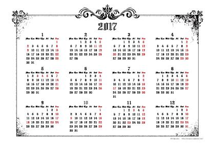 2017年ゴシックカレンダー(年間・よこ/ポストカード148×100mm)【無料ダウンロード】