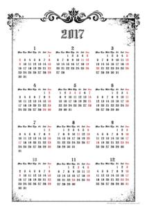 2017年ゴシックカレンダー(年間・たて/A4)【無料ダウンロード】