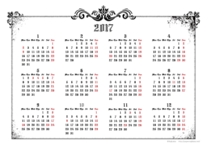 2017年ゴシックカレンダー(年間・よこ/A4)【無料ダウンロード】