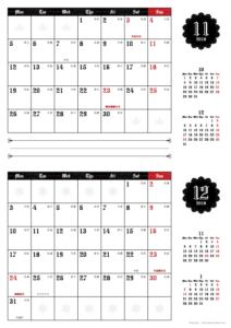 2018年11・12月|ゴシックカレンダー(横2ヶ月/A4)