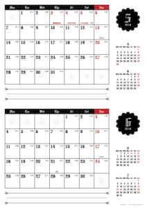 2018年5・6月|ゴシックカレンダー(横2ヶ月/A4)