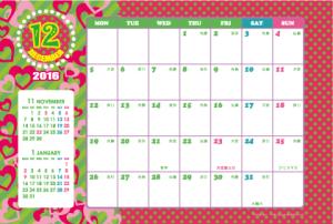 2016年12月|キッズポップカレンダー(横1ヶ月/ポストカード)