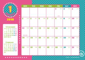 2016年1月|キッズポップカレンダー(横1ヶ月/A4)