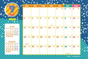 2016年7月|キッズポップカレンダー(横1ヶ月/ポストカード)