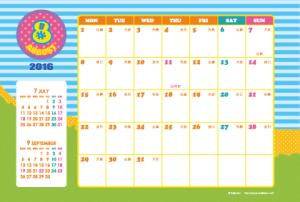 2016年8月|キッズポップカレンダー(横1ヶ月/ポストカード)