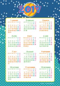 2017年キッズポップカレンダー(年間・たて/A4)【無料ダウンロード】