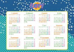 2017年キッズポップカレンダー(年間・よこ/A4)【無料ダウンロード】