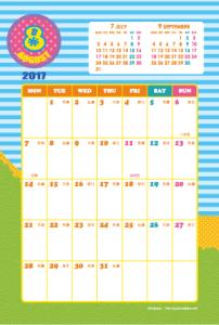 2017年8月|キッズポップカレンダー(縦1ヶ月/ポストカード)【無料ダウンロード】