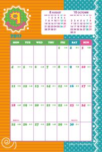 2017年9月|キッズポップカレンダー(縦1ヶ月/ポストカード)【無料ダウンロード】