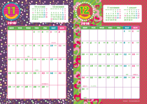 2018年11・12月|キッズポップカレンダー(縦2ヶ月/A4)