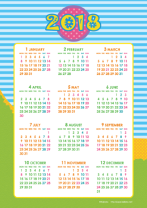 2018年キッズポップカレンダー(年間・たて/A4)