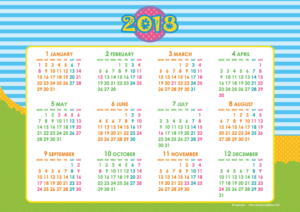 2018年キッズポップカレンダー(年間・よこ/A4)