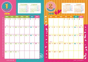 2018年1・2月|キッズポップカレンダー(縦2ヶ月/A4)