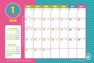 2018年1月 キッズポップカレンダー(横1ヶ月/ポストカード)