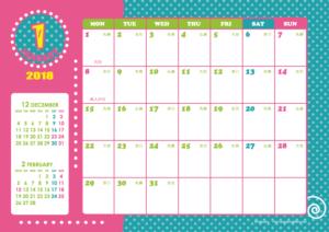 2018年1月 · 2018年1月|キッズポップカレンダー(横1ヶ月/A4)