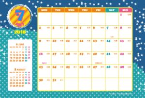 2018年7月 キッズポップカレンダー(横1ヶ月/ポストカード)