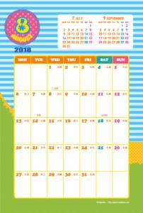 2018年8月|キッズポップカレンダー(縦1ヶ月/ポストカード)