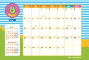 2018年8月 キッズポップカレンダー(横1ヶ月/ポストカード)