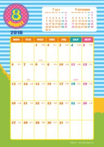 2018年8月|キッズポップカレンダー(縦1ヶ月/A4)【無料ダウンロード】
