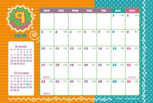 2018年9月 キッズポップカレンダー(横1ヶ月/ポストカード)