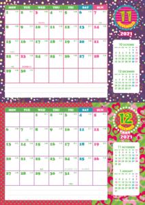 2021年11・12月 シンプルカレンダー(横2ヶ月/A4)