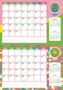 2021年3・4月 シンプルカレンダー(横2ヶ月/A4)