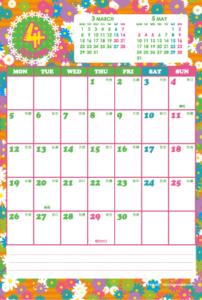 2021年4月 シンプルカレンダー(縦1ヶ月/ポストカード)