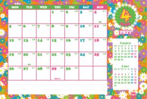 2021年4月|シンプルカレンダー(横1ヶ月/ポストカード)