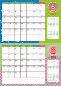 2021年5・6月 シンプルカレンダー(横2ヶ月/A4)