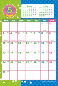 2021年5月 シンプルカレンダー(縦1ヶ月/ポストカード)