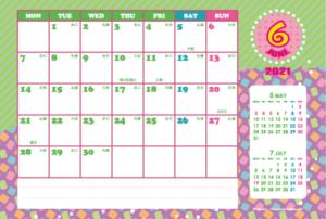 2021年6月|シンプルカレンダー(横1ヶ月/ポストカード)