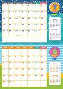 2021年7・8月 シンプルカレンダー(横2ヶ月/A4)