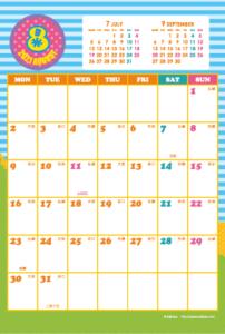 2021年8月 シンプルカレンダー(縦1ヶ月/ポストカード)