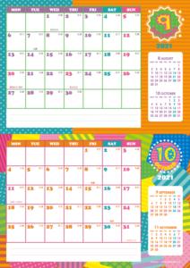 2021年9・10月 シンプルカレンダー(横2ヶ月/A4)
