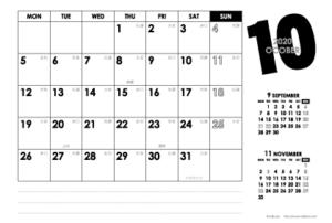 2020年10月 モノトーンカレンダー(横1ヶ月/ポストカード)