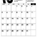 2020年モノトーンカレンダー(縦1ヶ月/A4) UPしました。