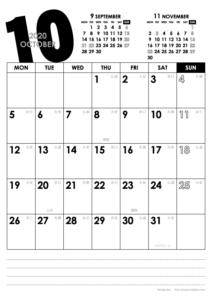 2020年10月|モノトーンカレンダー(縦1ヶ月/A4)