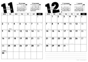 2020年11・12月|モノトーンカレンダー(縦2ヶ月/A4)