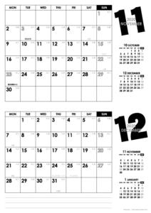 2020年11・12月|モノトーンカレンダー(横2ヶ月/A4)