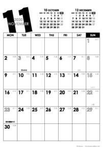 2020年11月|モノトーンカレンダー(縦1ヶ月/ポストカード)