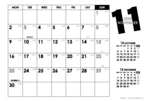 2020年11月 モノトーンカレンダー(横1ヶ月/ポストカード)
