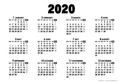 2020年モノトーンカレンダー(年間・よこ/ポストカード148×100mm)【無料ダウンロード】