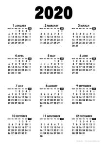 2020年モノトーンカレンダー(年間・たて/A4)