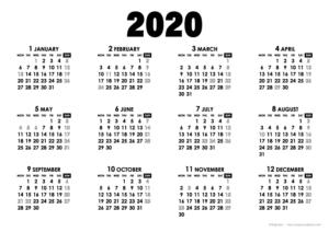 2020年モノトーンカレンダー(年間・よこ/A4)